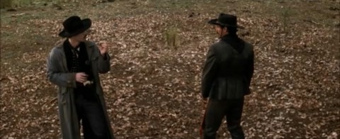 Then cut to a wide shot of the whole duel. This contrast adds serious weight to Doc's quip, and let you know it's about to go down.